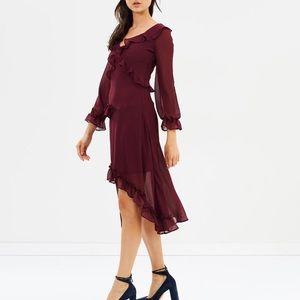 Miss Selfridge V-Neck Frill Front Midi Dress